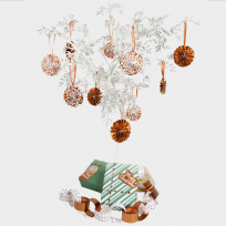 Merry Christmas Rose Gold & White Tree Decoration Pinwheels (10)